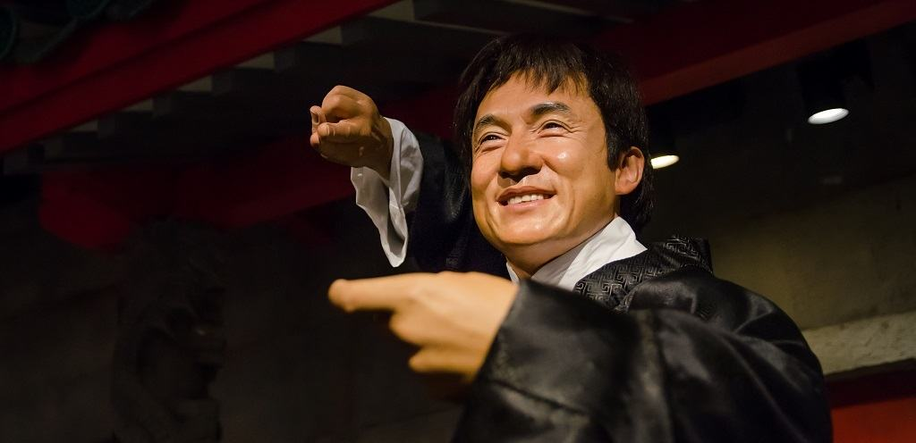 The wax figure of Jackie Chan in Madame Tussauds Singapore.