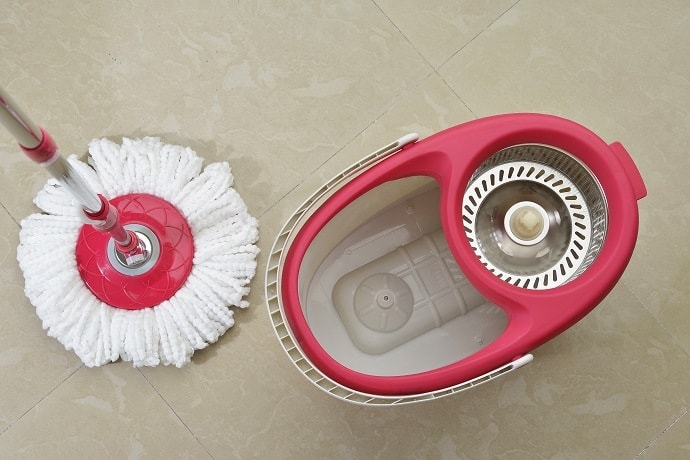 Cleaning Tiles With a Spin Mop